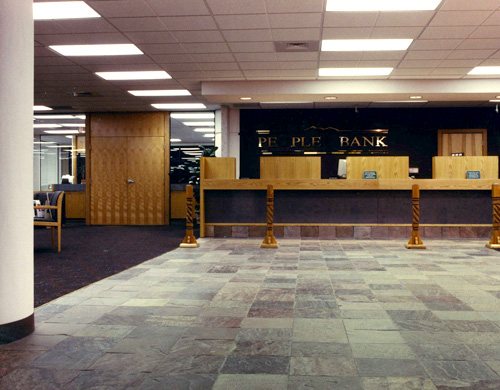 Bright, new bank interior