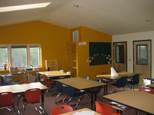 View of bright new interior classroom/learning space