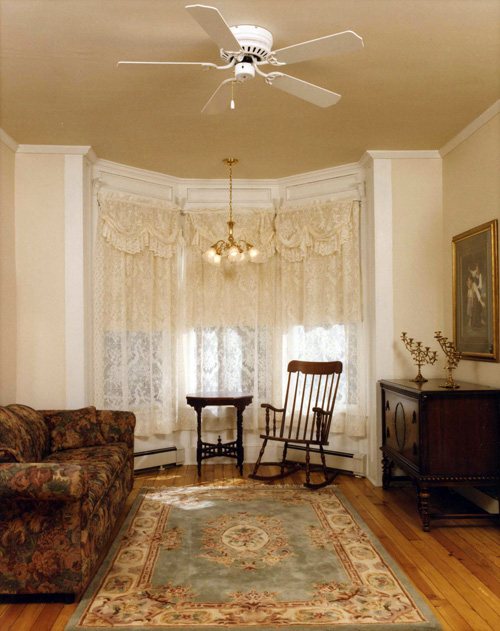 View of interior, parlor, after restoration