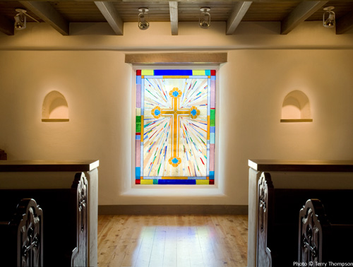 New baptismal area in original church entry, featuring new stained glass window